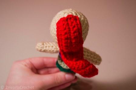 Back/main piece sewn onto the head.