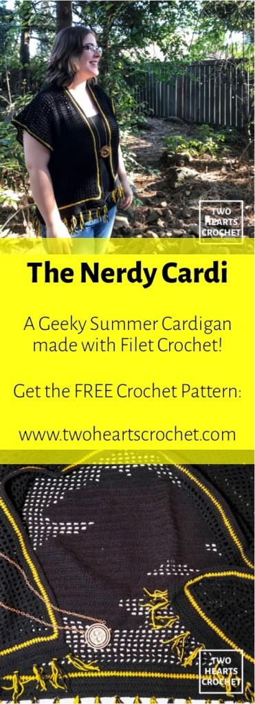Nerdy Cardy Crochet Filet Crochet Cardigan Pattern